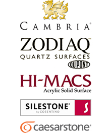 Cambria, Zodiaq, Hi-Macs, Silestone, Cqaesarstone